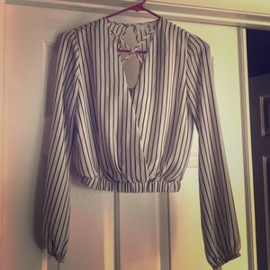 Missguided Striped Black & White Blouse SZ 2
